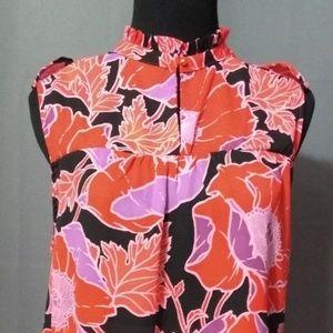 Poppy Flower Sleeveless Blouse Size L